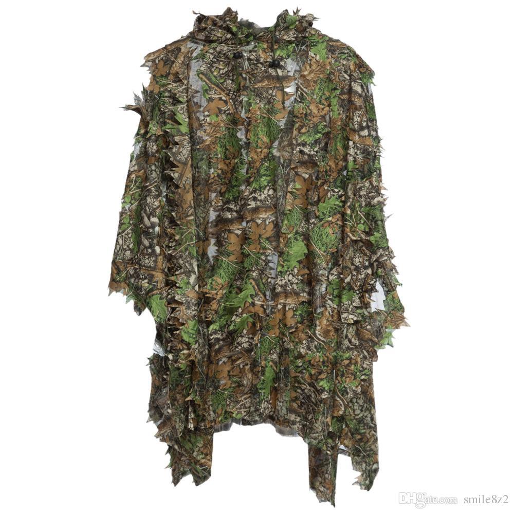 Caça Ghillie Conjunto Terno 3D Camo Bionic Folha Camouflage Selva Woodland Birdwatching Poncho Manteau Durável Caça Roupas + B