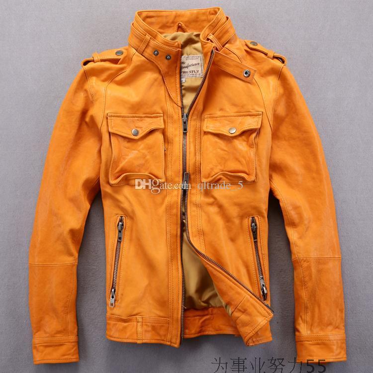 3 colori AVIREX FLY Flocking giacche in vera pelle colletto slim fit giubbotto da moto locomotiva Epaulet