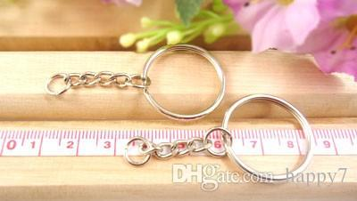 100pcs Keychain Wholesale Dia.25mm Split Keyring with 4 Link Chains+Small Jump Ring Key Ring Chain Key Holder Metal Key Ring Accessory