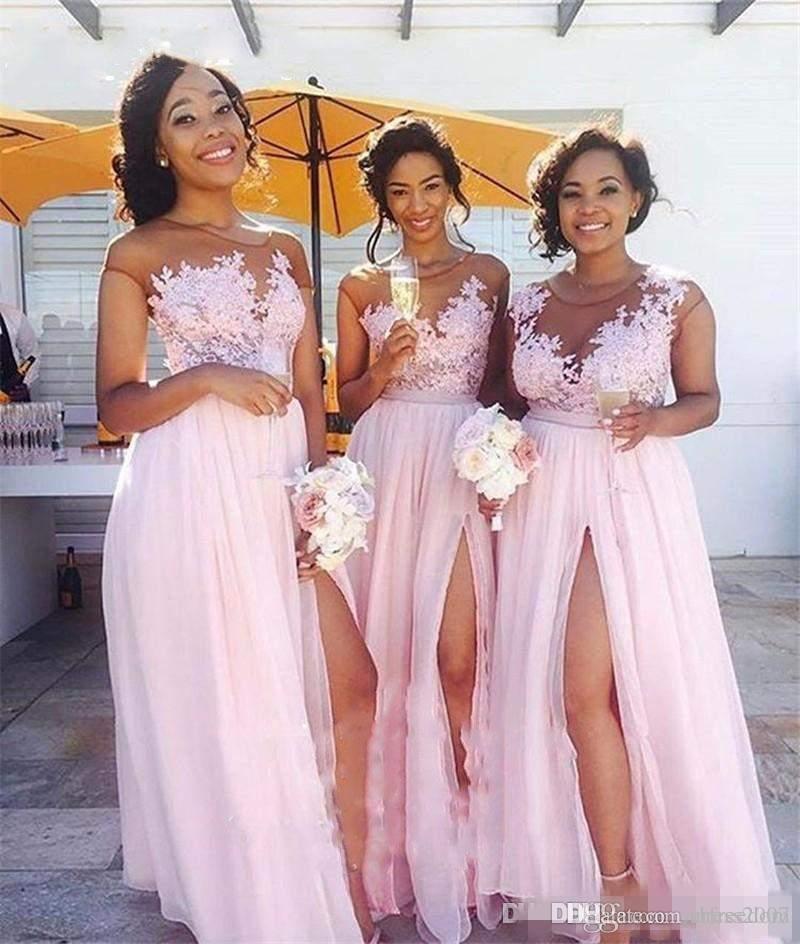 Compre Vestidos De Dama De Honor De La Playa De Gasa Rosa 2017 Sheer ...