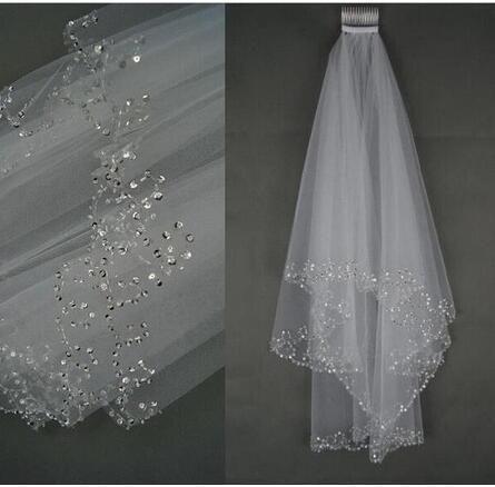 Voile de mariage brillant bordée de perles paillettes à la main 2 couches courtes Tulle Blanc / Ivoire Voile de mariée 2019 Meilleure vente