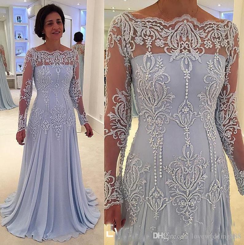 2017 Light Sky Blue Applique Mother'Dresses Mit Bloßen Langen Ärmeln Vintage Chiffon Bodenlangen Mutter Formale Abendkleider Benutzerdefinierte