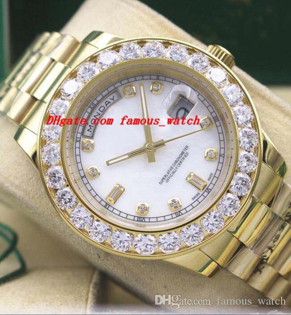 Luksusowe zegarki 41mm 18k żółte złoto większy diamentowy diamentowy oglądać bełt automatyczny moda marki męska zegarkować zegarek