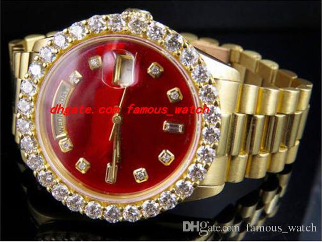 최고 품질 럭셔리 손목 시계 18K 망 옐로우 골드 36MM 자동 기계 운동 레드 다이얼 큰 다이아몬드 시계 5.5CT 남자 시계 새로운