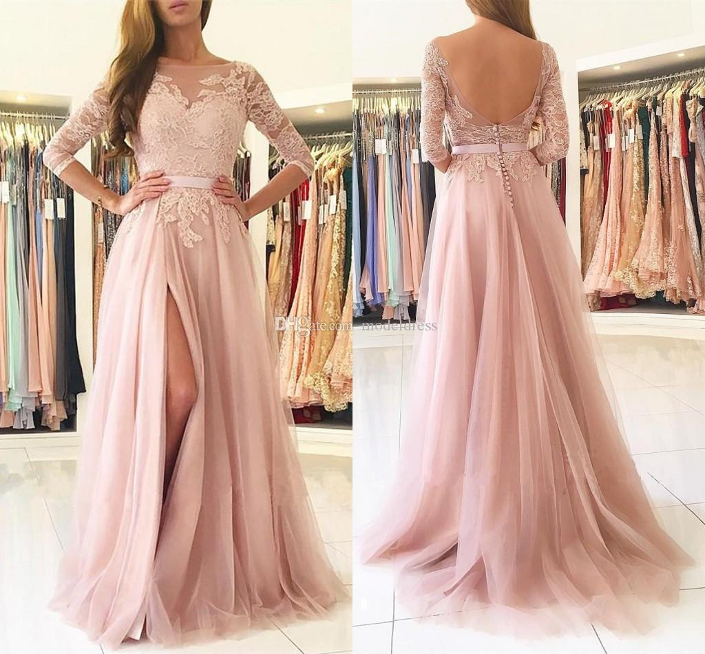 Blush Pink Split Long Bridesmaids Dresses 2020 Sheer Neck 3/4 Long Sleeves Appliques Lace Maid of Honor Country Wedding Guest Gowns Cheap