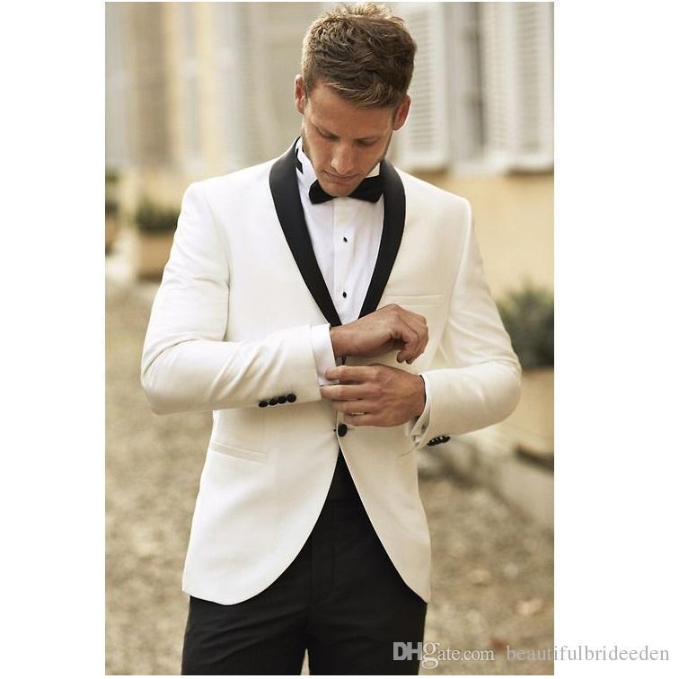 2017 Nouvelle Veste Blanche Avec Satin Noir Revers Groom Tuxedos Garçons D'honneur Meilleur Homme Costume Hommes Costumes De Mariage Veste Pantalon Cravate Ensemble