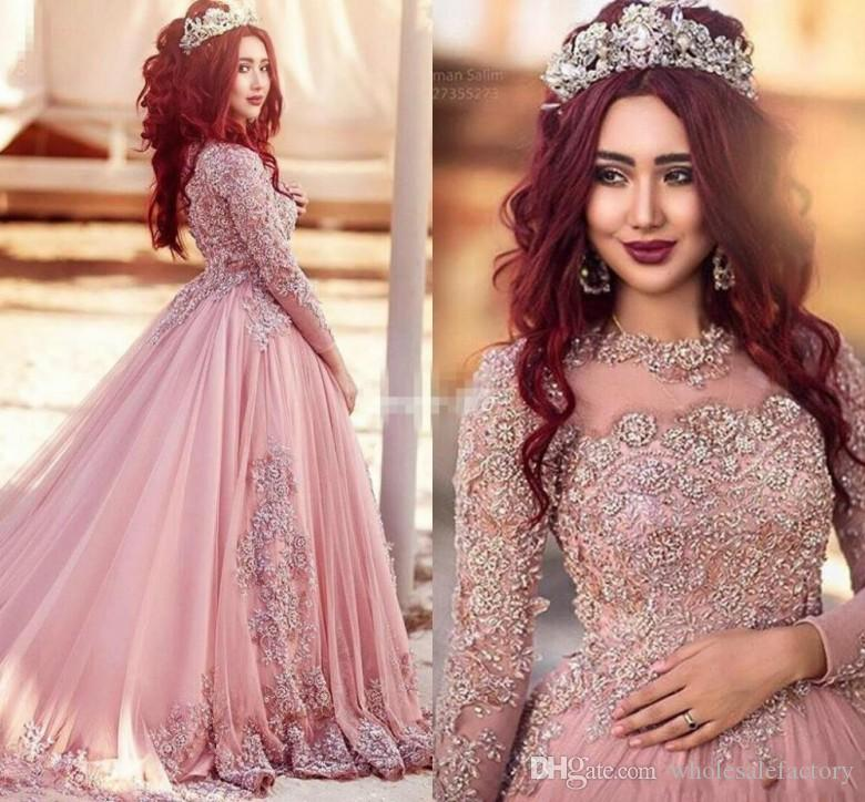 2017 Fashion Pink Lace Appliques Prom Dresses Arabic Dubai Long Sleeves High Collar Floor Length Formal Evening Party Gowns Vestidos