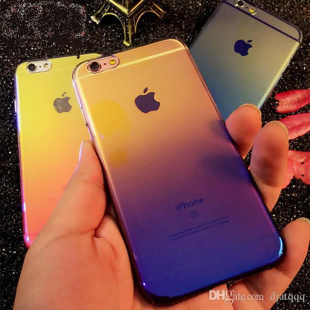 cover case For iPhone 6 6S Plus 7 Case Gradient Blue-Ray Light Hard Cases For Apple iPhone 7 Clear Cover Capa