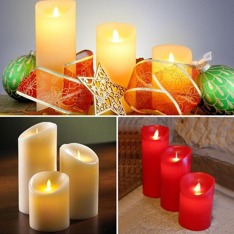 LED Candle Light, Battery Powered Flame Wax Electric Moving Wick LED Candles for Wedding Christmas Decoration, Red Pink Purple