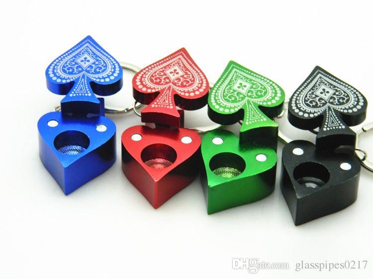 Покер Персиковый Сердце Pattern Форма Курительные Трубы Металла Курительные Трубы Мини Ручной Трубы