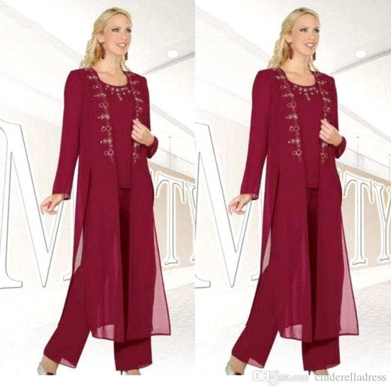 Burgundy Three-Pieces Mother of the Bride Trousers Suits with Jackets Long Sleeves Beaded Chiffon Formal Wear Mother's Pant Suits BA6672