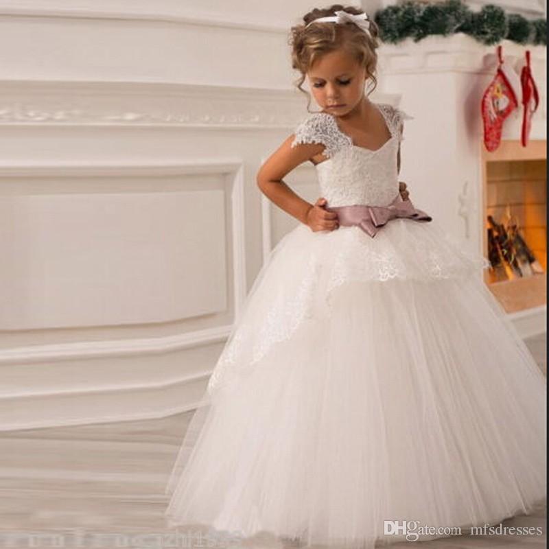 2016 princesa flor menina vestidos com caixilhos mangas vestido de baile vestido de festa pageant dress para littgirl primeiras comunhão vestido de princesa vestidos