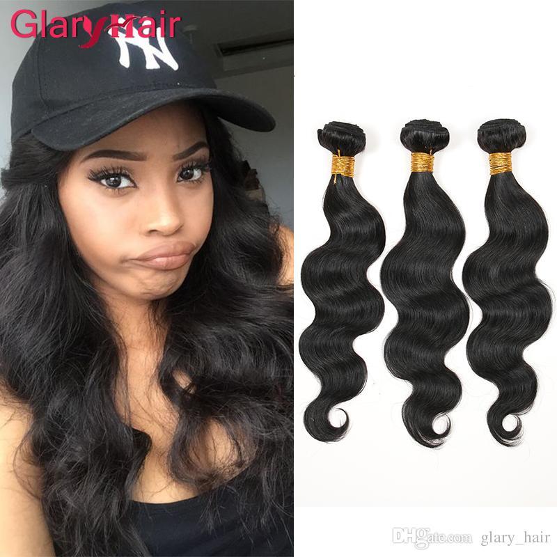 Glary البرازيلي العذراء شعر الجسم موجة 4 حزم غير المجهزة الشعر البشري ينسج أعلى البرازيلي نسج الشعر حزم البرازيلي الجسم موجة