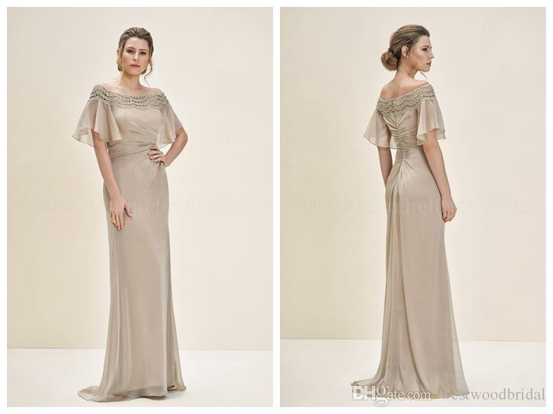 d8db5f1a99bec 2018 Mother Of The Bride Dresses Wedding Guest Dress Jasmine Mother Of The  Groom Dresses Champagne Chiffon Applique Off The Shoulder Ruched Mother Of  ...