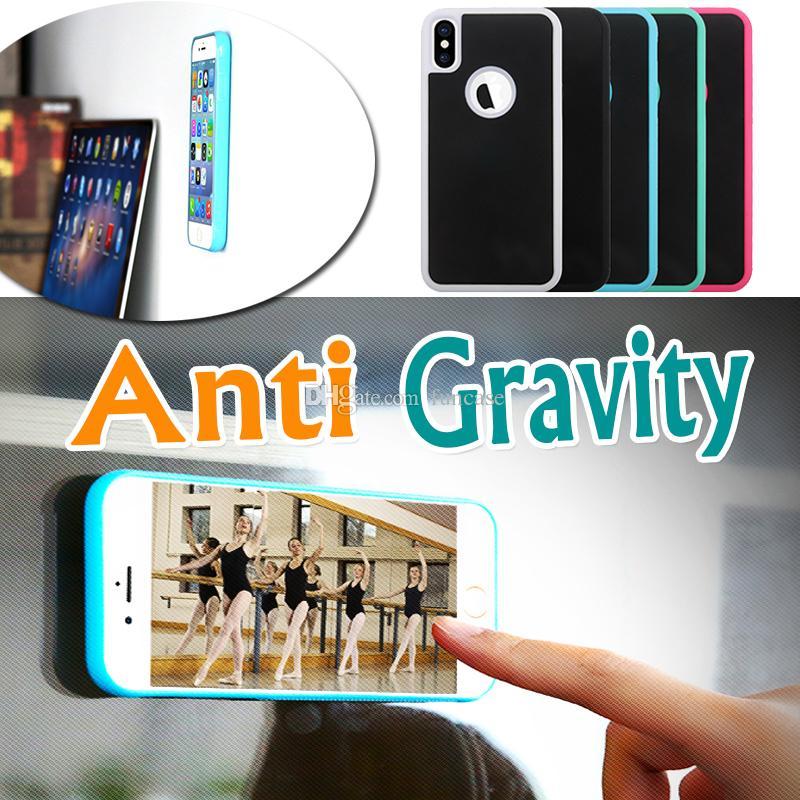 Anti-Gravidade Selfie Mágico Nano Pegajoso Capa de adsorção Anti-queda Capa Dura para iPhone XS Max XR X 8 7 6 Plus Samsung S10 E S9 S8 S7 Nota 9