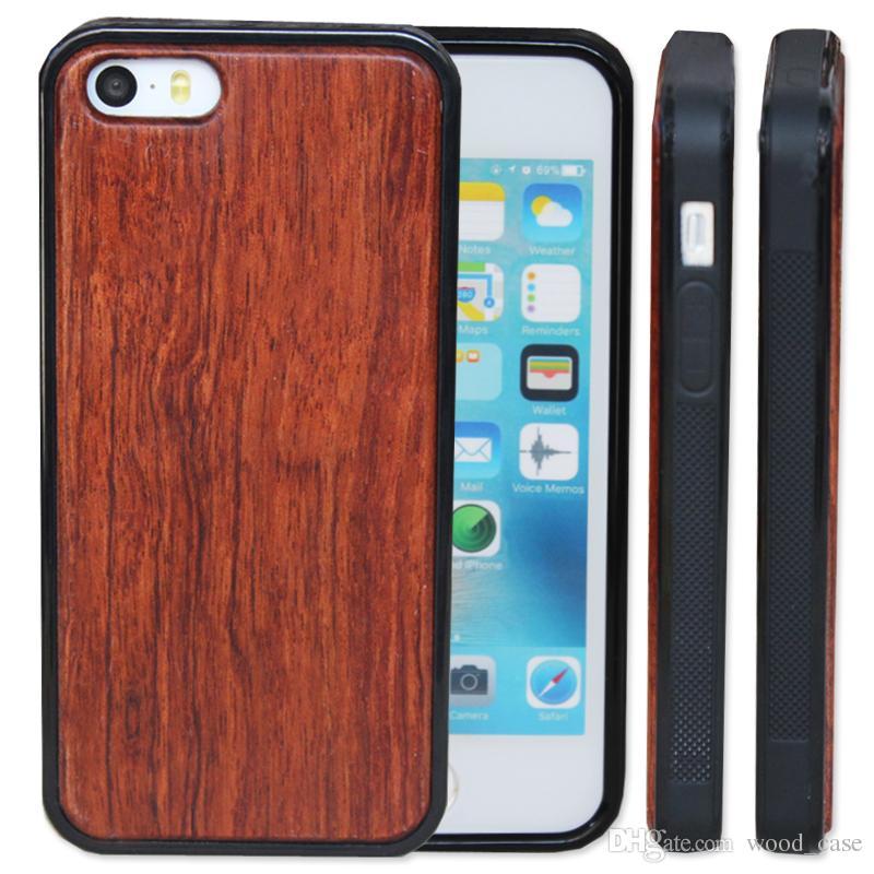 La más nueva caja de madera personalizada para iphone 5 5s SE 6 6s más 7 8 X 10 de bambú de madera con cubierta protectora suave de TPU Fundas para Samsung S9 S8