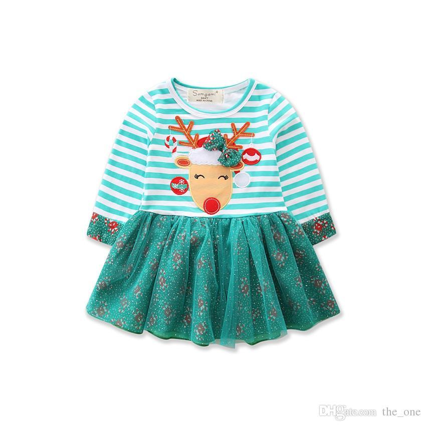 Xmas Toddler Kid Baby Girls Dress Long Sleeve Christmas Fancy Dress Striped Party Tutu Dresses deer print free shipping