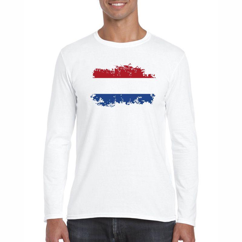 Moda Bandera de Países Bajos Diseño nostálgico Camiseta de algodón Hombres Manga larga O-cuello Ocio Países Bajos Fans Cheer camiseta