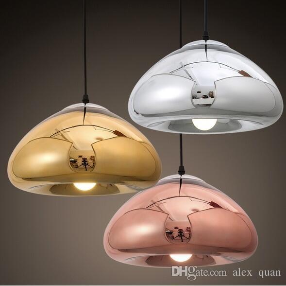 Круглый стеклянный подвесной светильник современного изобразительного искусства стекла Подвеска лампа латунь чаша свет подвеска золото / серебро