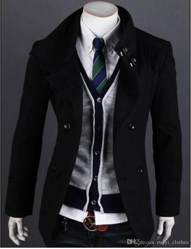Moda de outono / inverno dos novos homens na Europa e cultivar a personalidade moralidade trespassado casaco de pano / M-2XL