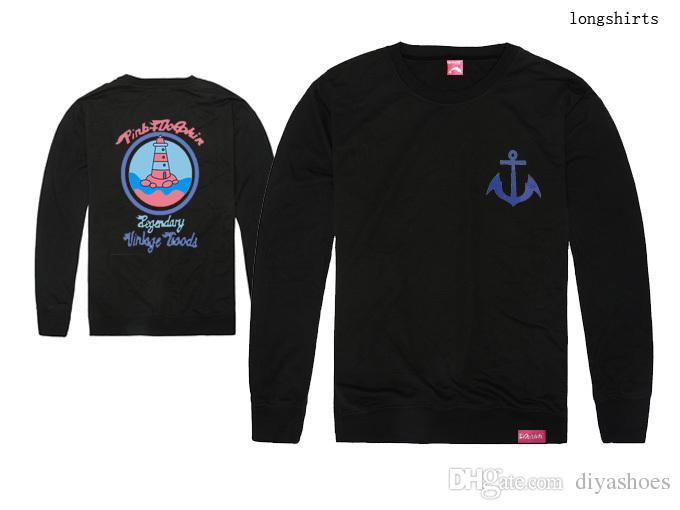 2018 nouvelle arrivée rose dauphin spécial hip hop hommes et femmes à manches longues t-shirt livraison gratuite plus la taille de bonne qualité 100% coton