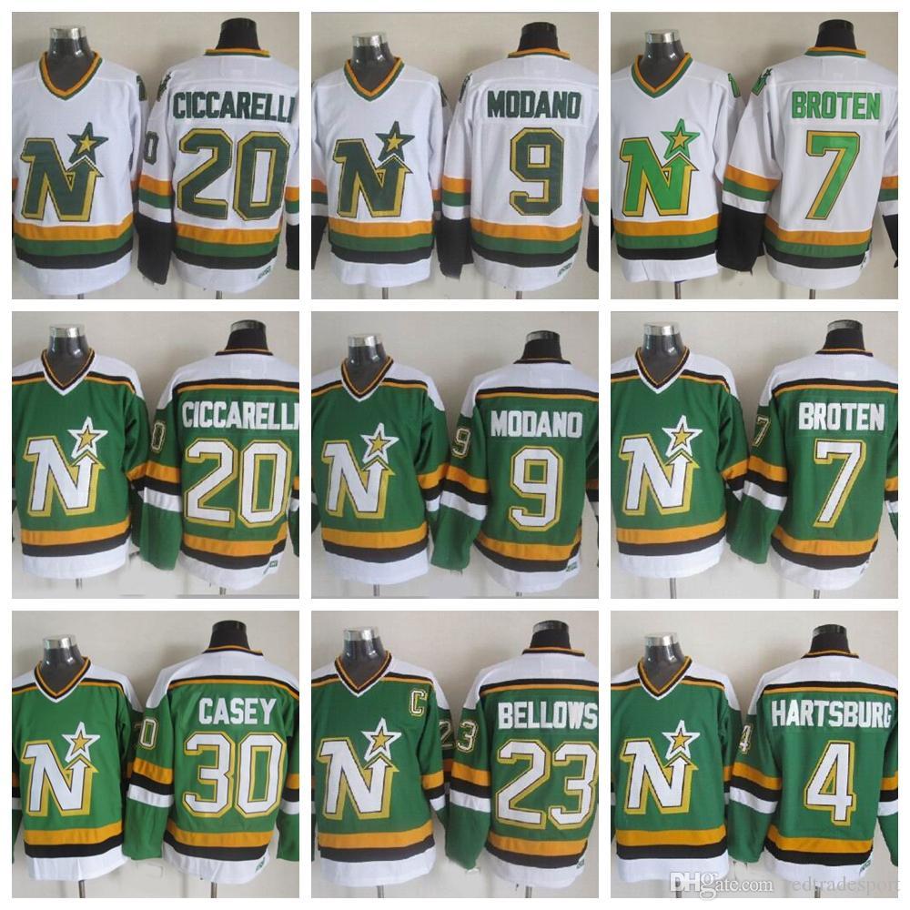 Vintage Du Minnesota North Stars Chandails De Hockey 9 Mike Modano 20 Dino Ciccarelli 7 Neal Broten 23 Brian Bellows 4 Craig Hartsburg Jon Casey