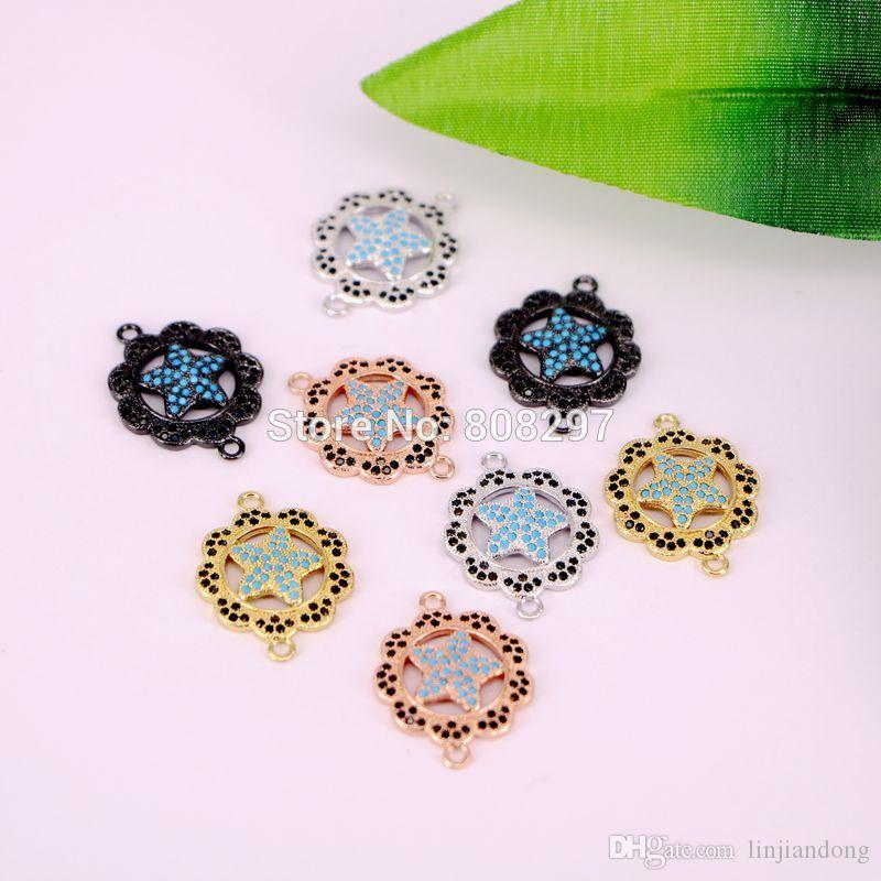 2018 wholesale copper micro pave cz blue stone turkey style round flower star connector accessoires for chic jewelry from linjiandong 25 13 dhgate com