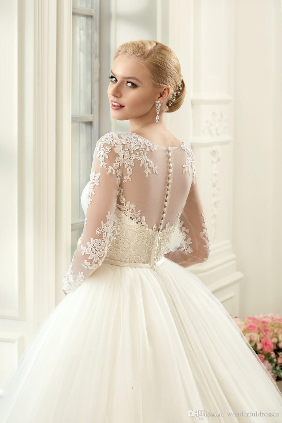 Discount Muslim Plus Size Long Sleeves Lace Wedding Dresses 2017 ...