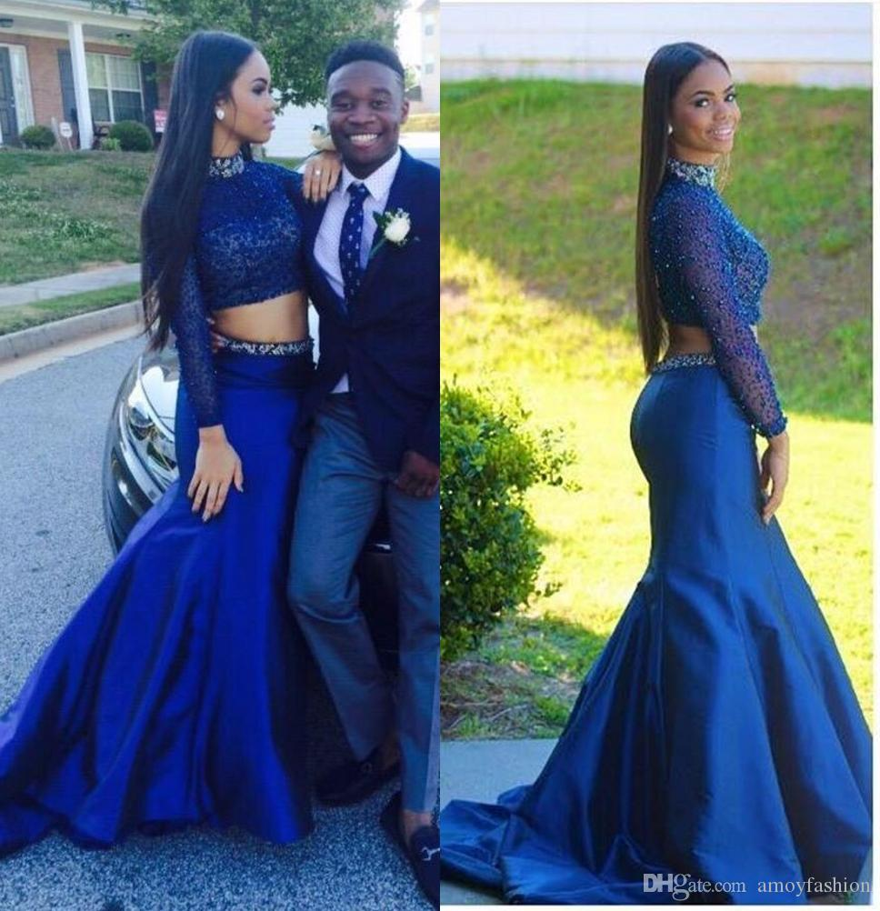 2017 Two Pieces Sexy Royal Blue Prom Dresses High Neck Long Sleeve ...