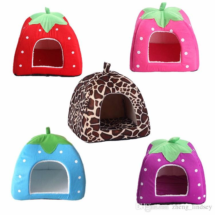 Foldable Pet Cat Puppy Dog Bed House Sleeping Mat Blanket Strawberry Soft Cute