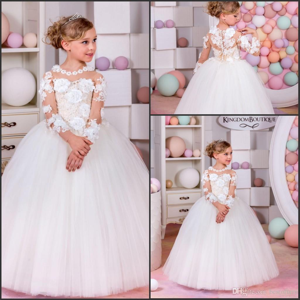 Cute flower girl dresses for wedding 2017 long illusion sleeve cute flower girl dresses for wedding 2017 long illusion sleeve with 3d flowers tulle skirt ball junglespirit Image collections