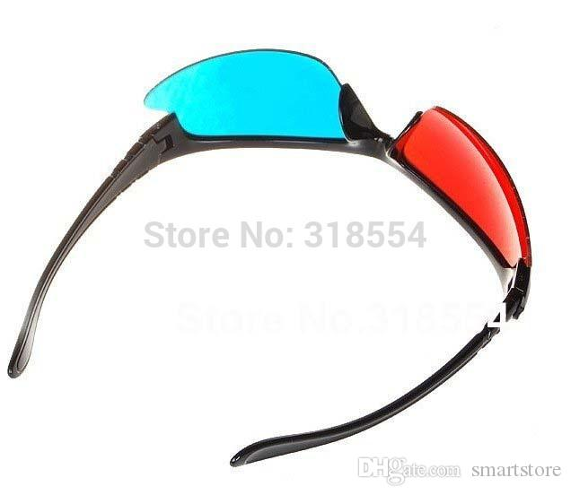 Free Shipping 300pcs/lot Stylish Reuseable Plastic Frame Red Blue Cyan 3D Glasses Half Frame Lens Glass 0001