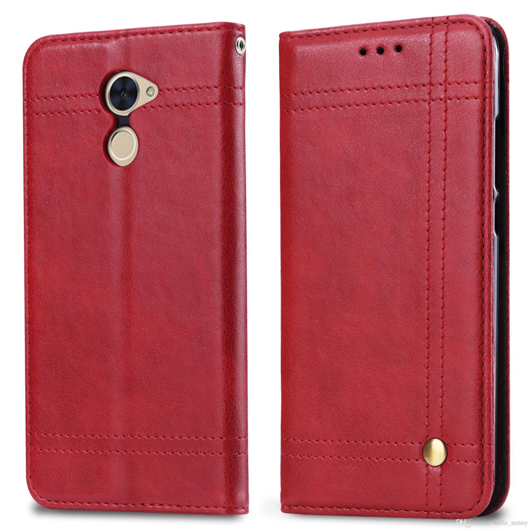 Retro Leather Case For Huawei Y52017 Y62017 Y72017 Y7prime Magnet