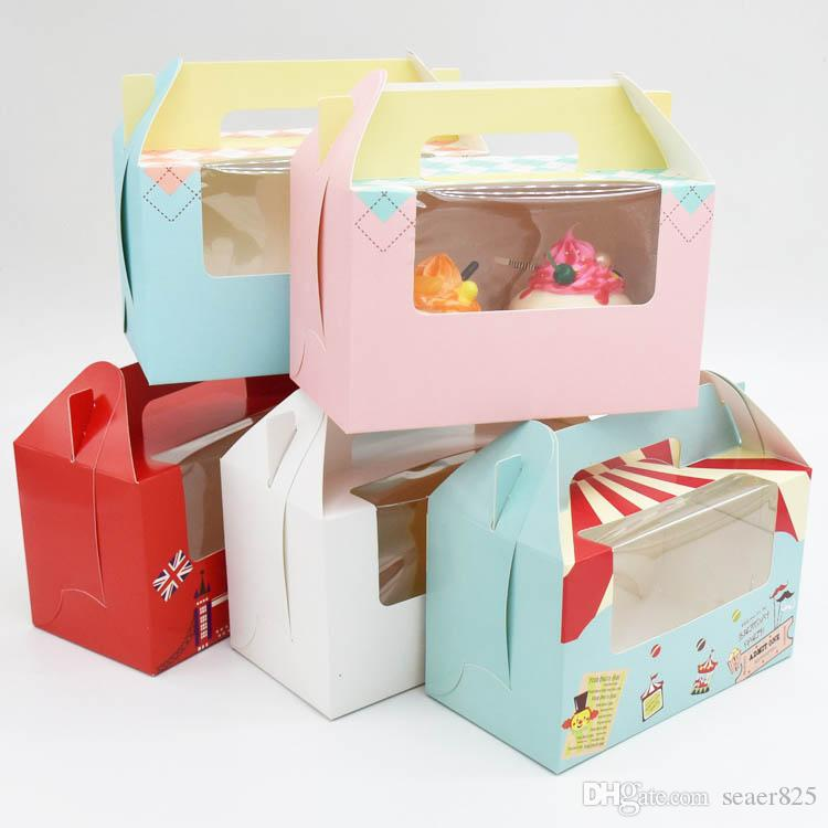 1000pcs British London soldier circus cupcake boxes handles with window kraft paper Cake box 2 Cup Cake Holders 14.7x16.5x9.3cm