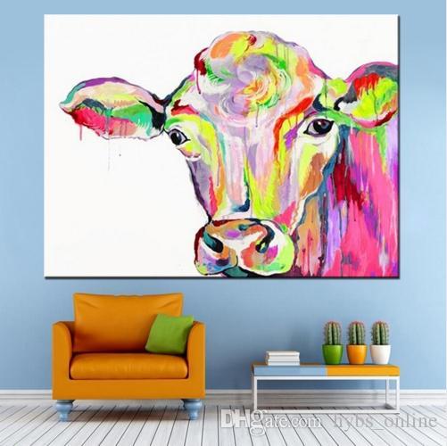 В рамке Pure Handpainted Современный Abctract Animal Art Картина Маслом Красочные Коровы, на Холсте Высокого Качества Для Домашнего Декора Multi размеры