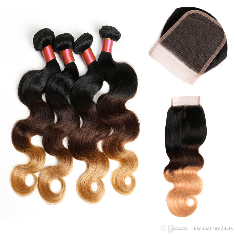 Brazilian Ombre Body Wave Human Non Remy Hair Bundles With Closure Color 1B/4/27 10 Inches to 26 Inches Extensions 4 Bundles Free Shipping