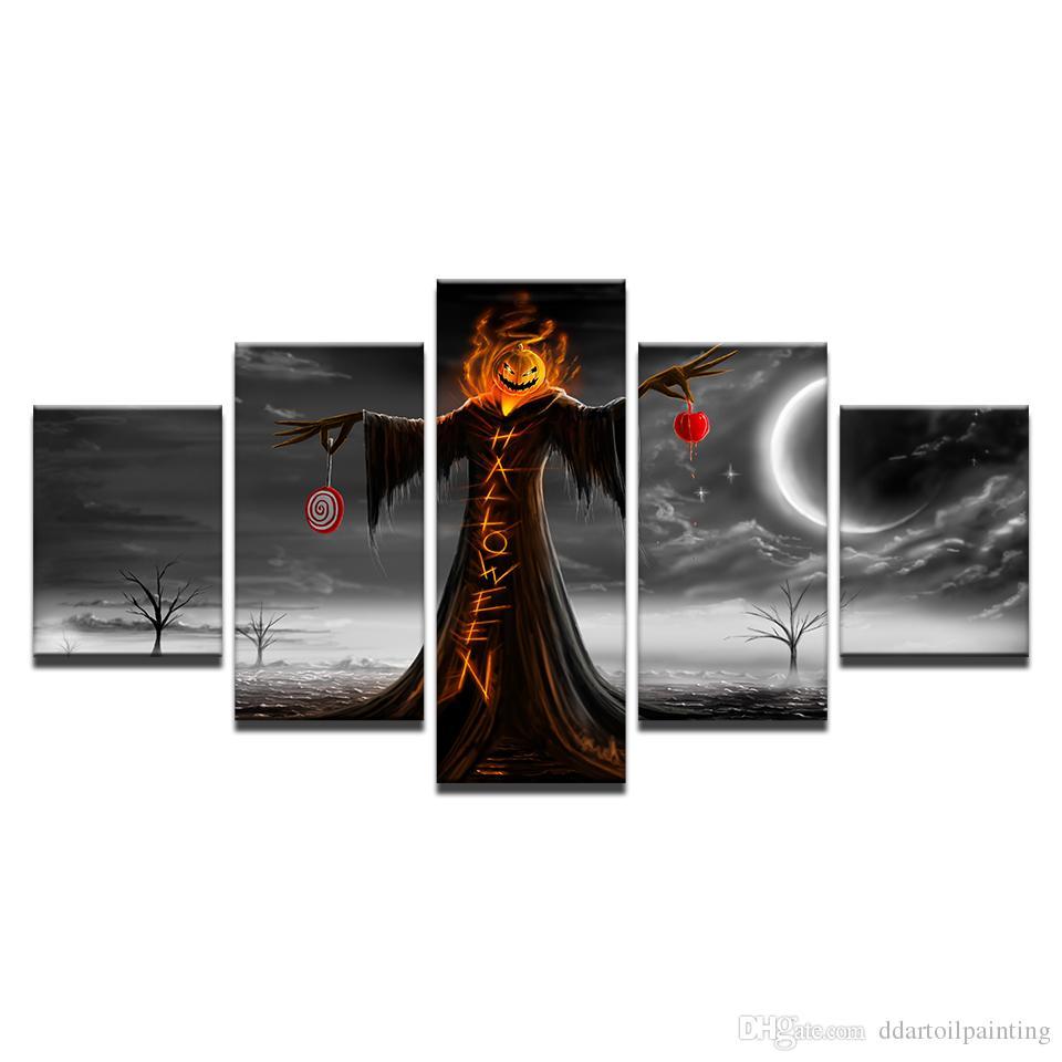"Halloween LARGE 60""x32"" 5Panels Art Canvas Print Halloween Night Pumpkin Poster Wall Home Decor interior (No Frame)"
