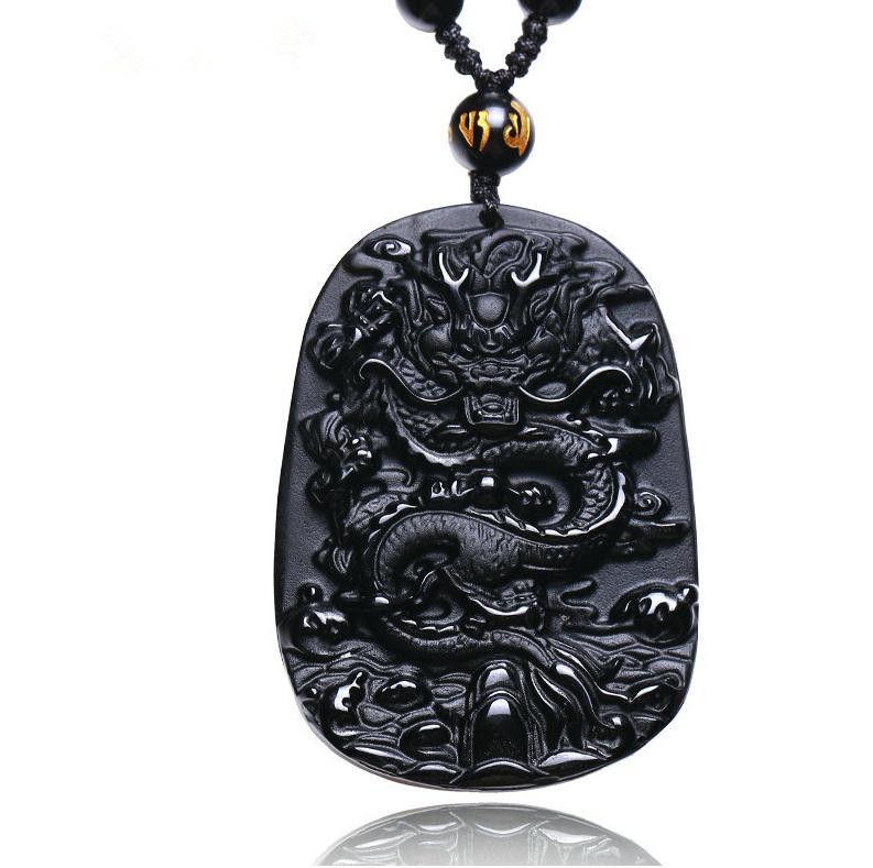 Obsidian natural mão esculpida dragão chinês boa sorte charme pingente de colar