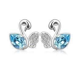 Wholesale price Fashion Austrian crystal swan earrings made with Swarovski elements famous brand jewelry Stud Earrings for women