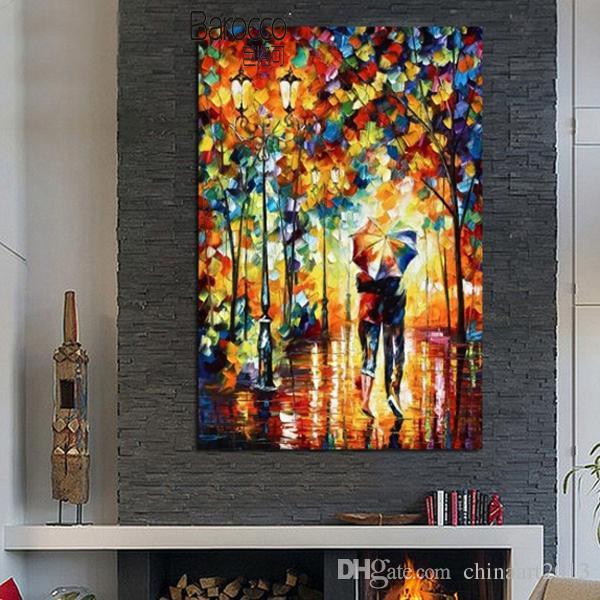 Geliebte gehende Malerei 100% handgemalte Landschafts-Palette Kinfe Ölgemälde auf Segeltuch-moderner Hauptwand-Kunst-Dekoration