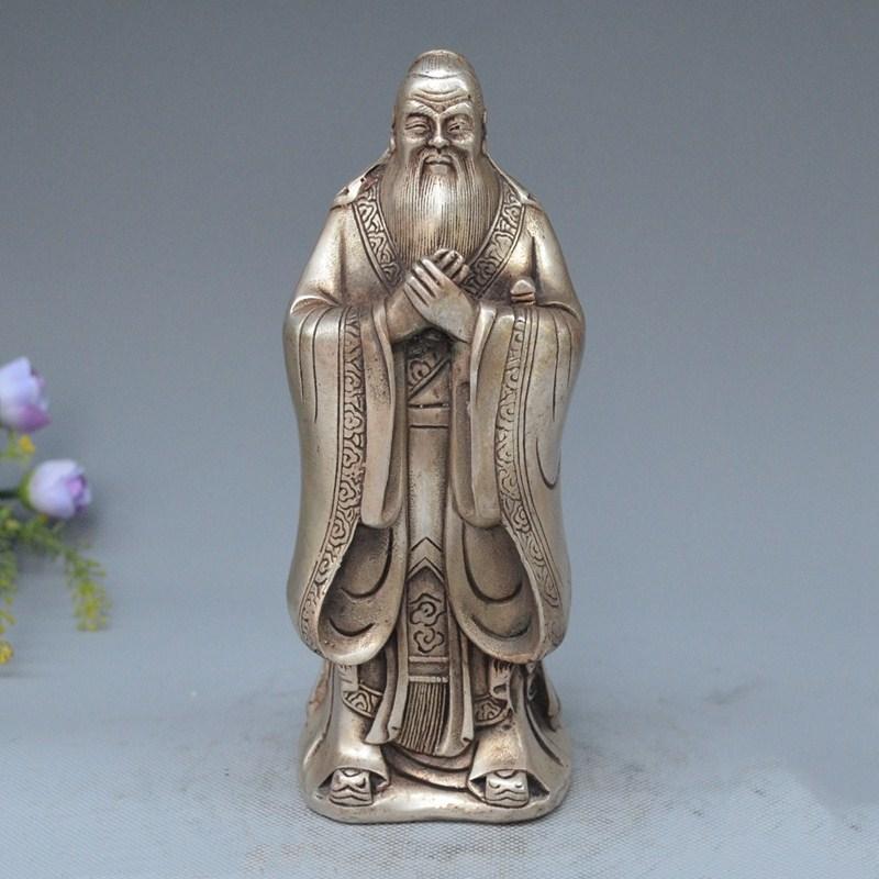 Chinois Argent Célèbre Philosophe Fondateur Le Confucianisme Statue Lettrés KongZi
