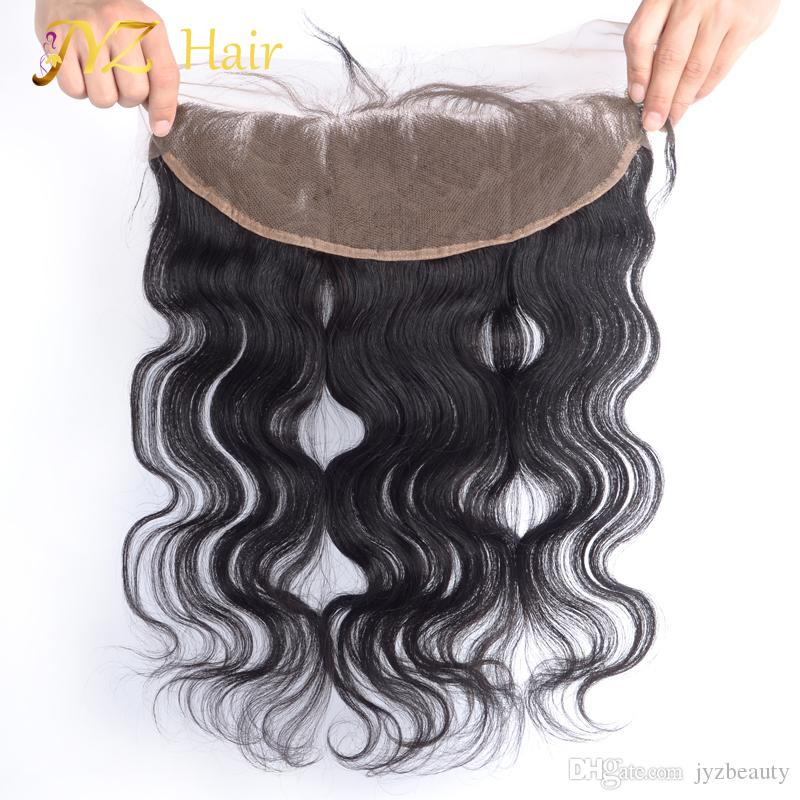 JYZ Lace Frontal Closure Peruvian Hair Body Wave 13x4 Ear To Ear Lace Frontal Hand Tied Human Hair Frontals Bleached Knots