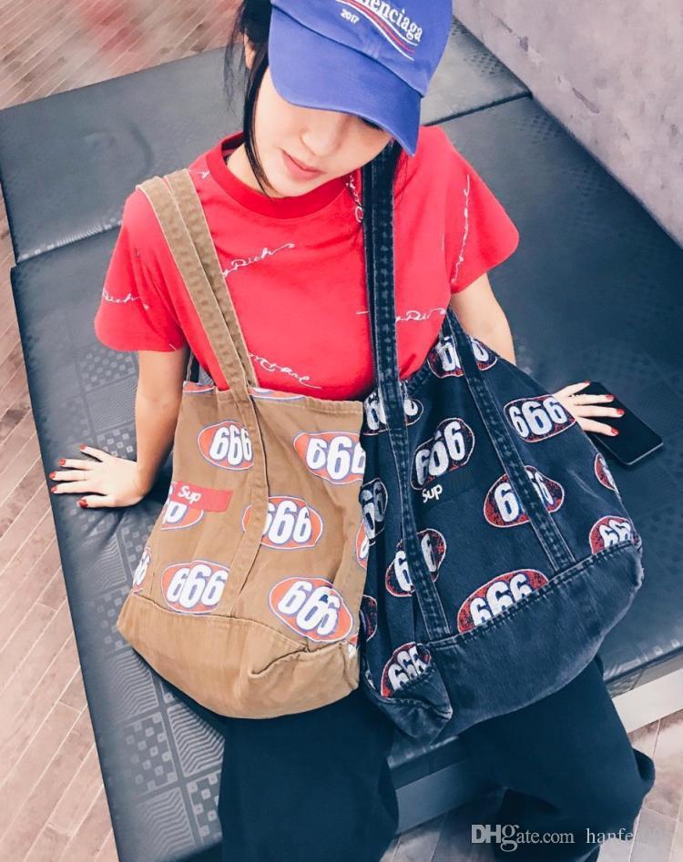 17ss Sup 666 borsa a mano in tessuto tote borsa moda ad alta capacità uomo donna nero kaki cowboy tote bag HFBB022