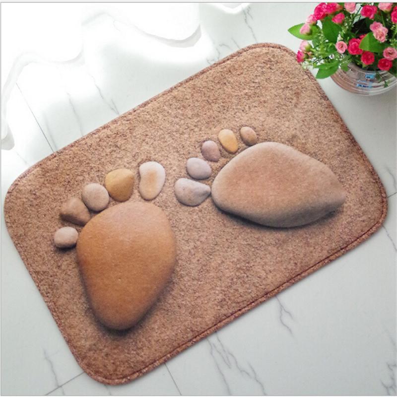 Modern 3D Big Footprint Cobblestone Rubber Ultra Slim Mats for Home Hotel Bathroom Bedroom Living Room Anti-skid Floor Carpet
