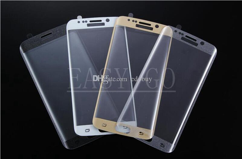 Protecteur d'écran en verre trempé à couverture totale pour Samsung Galaxy bord S6 / bord S6 plus / bord S7 / S7 sans boîte de vente au détail en gros
