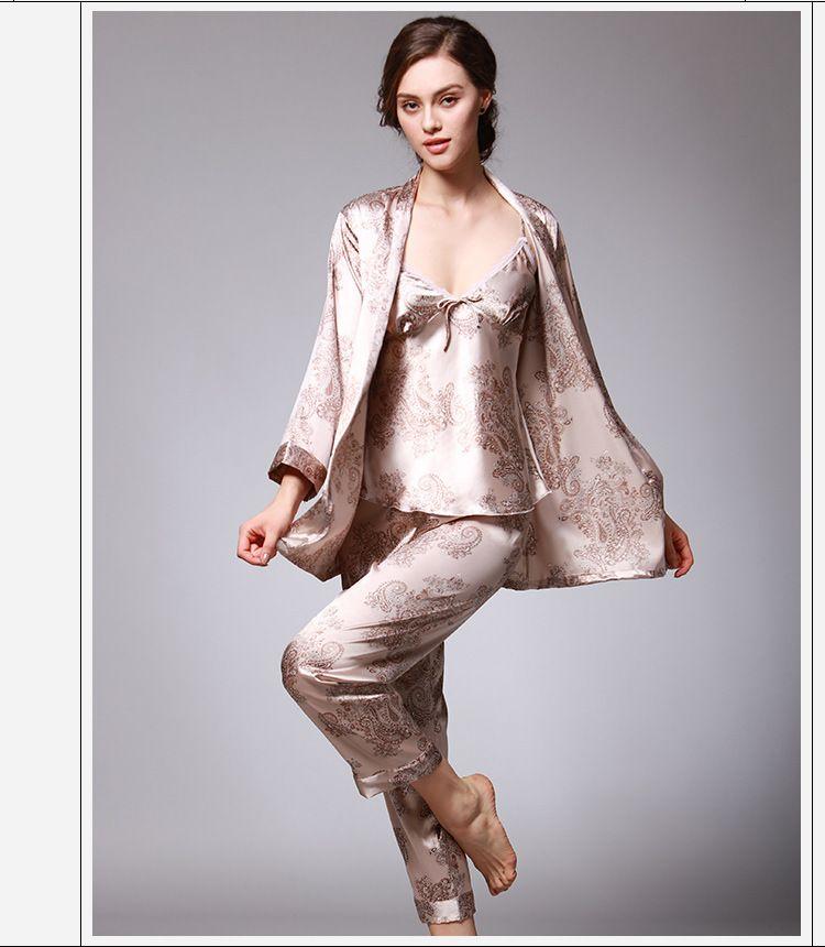 mieux gros en ligne offre spéciale Acheter Pyjama En Satin Pyjama Femme Lingerie Sexy Pyjama En Soie Femme  Pyjama En Soie À Manches Longues Imprimé Fleur SJYT95 De $22.54 Du  Vanessa918 ...