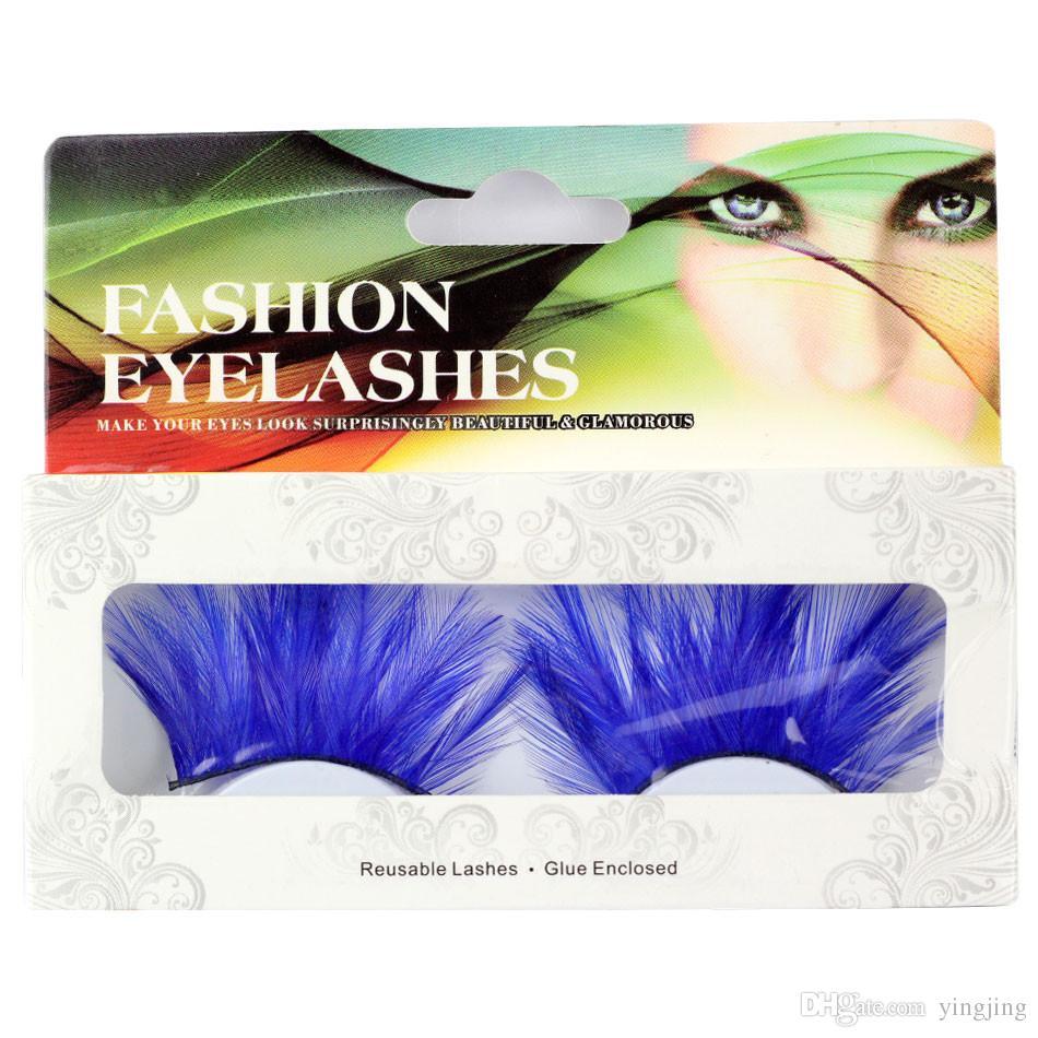 New Fashion 1 Pairs 6 Style Halloween Makeup Blue Feather False Eyelashes Beautiful Point Mascara Pair Set Tools
