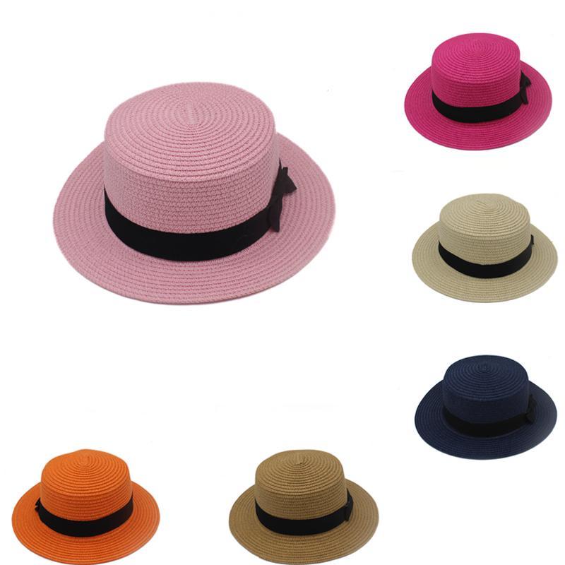 8 Colors Men Women Children Stingy Brim Hats Summer Travel Beach Sun Hat Bow-tie Boys Girls Kids Adult Sunbonnet Dome GH-57