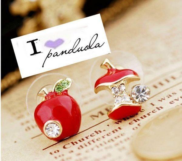 Nette Ohrstecker Modeschmuck Glasur roter Apfel Ohrringe farbige Glasur Asymmetrische Ohrstecker Rot Grün Äpfel Earing Ohr Acc Für den Sommer