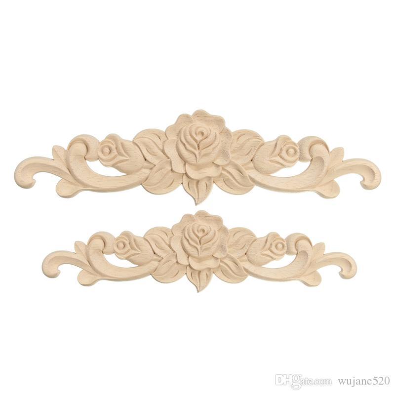 2 Tamaño Rosa Floral Madera Tallada Calcomanía Esquina Flor Aplique Decorar Marco Puertas de pared Muebles Decorativos Figuras de madera Artesanía